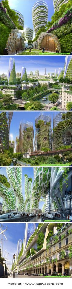 Futuristic Smart City Vision of Paris in 2050 with Consistently throughout the Smart City plan. The towers' programs are mixed-used, combining residential, business, and commercial functions, which are divided internally. French firm Vincent Callebaut Architectures has developed a Futuristic Smart City Vision proposal for multiple high-rise buildings with positive energy output (BEPOS). https://www.kadvacorp.com/design/futuristic-smart-city-vision-2050/