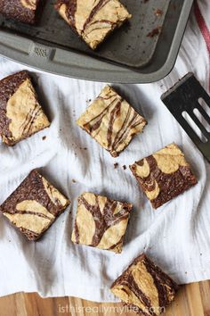Peanut butter brownies - my favorite brownie recipe! A swirl of creamy peanut butter flavor in every bite. #brownies #brownierecipe #peanutbutter #dessert via isthisREALLYmylife.com