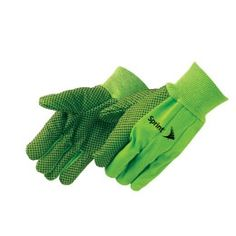 Promotional Double Palm Green Canvas Work Gloves with Black PVC Dots | Promotional Safety Gloves | Customized Double Palm Green Canvas Work Gloves with Black PVC Dots