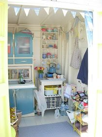 Sheds' Are Women's Perfect Response To The Man Cave (Photos)You can find Sheds and more on our website.Sheds' Are Women's Perfect Response To The Man Cave (Photos) Beach Hut Interior, Shed Interior, Interior Ideas, Craft Shed, Lyme Regis, Beach Cottages, Beach Huts, Beach Cabana, Beach Hut Decor