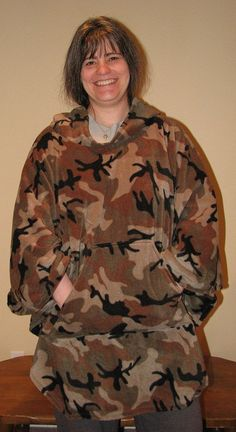 Camouflage Fleece Hooded Poncho in Army Green very by adfabinidaho, $43.00