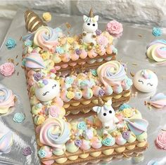 Unicorn themed 'E' cookie cake. For all your cake decorating supplies, please vi… Unicorn themed 'E' cookie cake. For all your cake decorating supplies, please visit www. Cute Cakes, Pretty Cakes, Beautiful Cakes, Amazing Cakes, Unicorne Cake, Cupcake Cakes, Cake Cookies, Bolo Nacked, Alphabet Cake