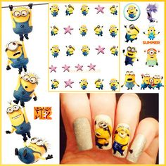 Cheap art puzzle, Buy Quality tool american directly from China tool cell Suppliers:  Hot sale lovely Minions nail stickers Water Transfer Sticker Nail Art Decals Nails Wraps Temporary Tattoos Waterm