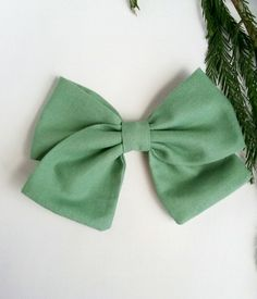 Sage Classic Bow, Fall Bow, Hand Tie Bow, Fabric Bow by SweetandSparkle on Etsy