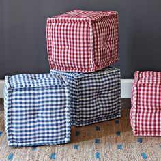 Square Gingham Pouf – Red | so cute
