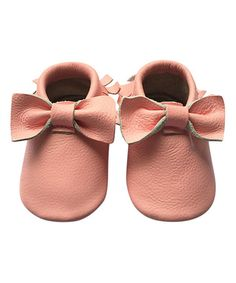 Look what I found on #zulily! Pink Bow Leather Moccasin #zulilyfinds