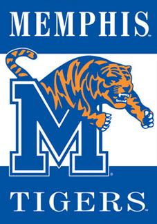 University of Memphis Tigers ROARING TOM Logo Poster Banner  - Available at www.sportsposterwarehouse.com