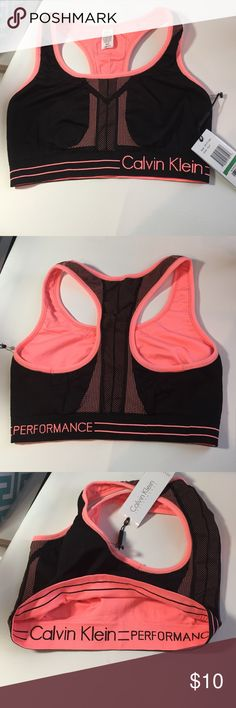NWT Calvin Klein  Reversible Sports Bra Large New with Tags Calvin Klein Performance Reversible sports bra in size large black one side and reverses to peach the other side.  Fabric is 95% nylon and 5% spandex Calvin Klein Intimates & Sleepwear Bras