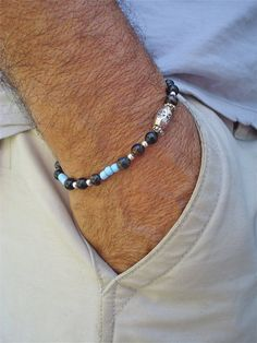 Men's Minimalist Bracelet with Semi Precious Stones by tocijewelry, $38.00
