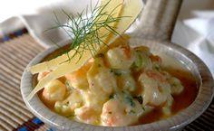 Prawns with Garlic, Wine and Cheese Recipe