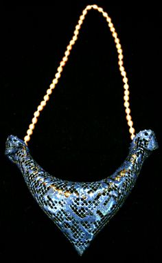 Liquid enamel on copper mess gorget, pearls by Miklos Sipos.