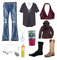 """""""I Just Ordered These Jeans Online, But Im A Little Nervous Of What They Look Like"""" by im-a-jeans-and-boots-kinda-girl on Polyvore featuring American Eagle Outfitters, Justin Boots, Victoria's Secret, Hollister Co., Under Armour, Alex and Ani and Carhartt"""