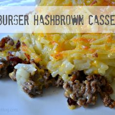 Hamburger Hashbrown Casserole , , , I didn't layer things, just stirred it all together and baked it up. Winner with the family.