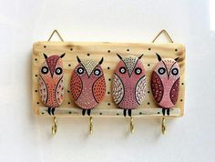 owl wall hanging with hooks