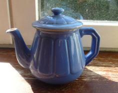 Mini Blue Teapot, tea for one, Small teapot, bright blue pot, Tea pot for one, Little teapot, Vintage ceramics