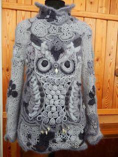 Freeform Crochet, Irish Crochet, Crochet Shawl, Knit Crochet, Knitting Designs, Crochet Clothes, Wearable Art, Crochet Patterns, Cute Outfits