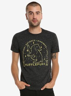 Harry Potter Hufflepuff Sketch T-Shirt - BoxLunch Exclusive, BLACK