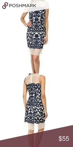 RSVP Azalea Dress You're bound to look beautiful in this dress. Sleeveless sheath silhouette help to show off your figure. Stunning contrast brocade design throughout. Sheer panels at the round neckline and the straight hem. Hidden back zip closure. 100% polyester; Lining: 100% polyester. Dry clean only. NO TRADES. RSVP Dresses