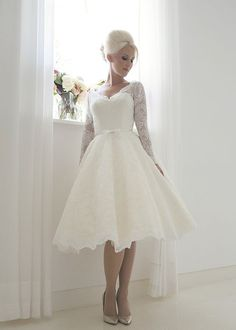 Beatrice Short vintage 1960's full French lace and fitted lace sleeves tea length wedding dress