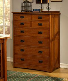 Tall and elegant, the eight drawer dresser houses four top accessory drawers and four spacious lowerdrawers<li>Handcrafted using American Red Oak