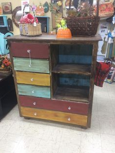 Rustic Multi Color Dresser And Shelving
