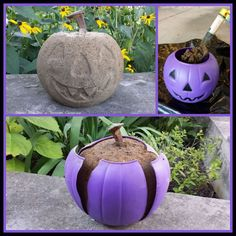 Dollar Store Crafter: Use A Dollar Store Plastic Pumpkin As A Mold For A Concrete Halloween Ornament