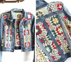Crochet granny square panels in old denim jacket brings new boho chic to your cold wardrobe and uses up all those unused banker squares or odd balls of yarn too. Czekają na Ciebie nowe Piny: 18 - Poczta This Pin was discovered by nih Likes, 20 Comments - Pull Crochet, Crochet Coat, Crochet Jacket, Crochet Cardigan, Crochet Granny, Crochet Clothes, Diy Clothes, Crochet Baby, Recycled Fashion