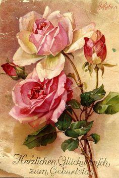 Rose Images, Rose Pictures, Flower Images, Flower Art, Vintage Cards, Vintage Postcards, Floral Artwork, Decoupage Vintage, Lilac Flowers