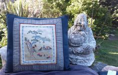 """Silk Chinese river scene on cotton cushion cover 40 cm x 40 cm (15"""" x 15"""") - $40 NZD on Etsy - handmade by Hannah with love"""