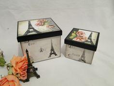 Conjunto de Caixas Organizadoras Paris Decorative Boxes, Frame, Home Decor, Creative Christmas Presents, Gift Suggestions, Mac Makeup Box, Painted Boxes, Handmade Products, Wood Art
