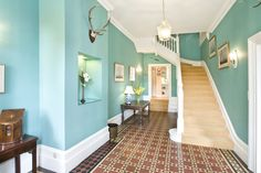 Interior , Enchanting Wall Colors for Hall Giving New Appearance To Your Home : Blue Hallway For Classical Look