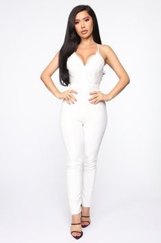 Nikita Lace Jumpsuit White - Available In Black, Mauve And White Lace Jumpsuit Racer Back Back Zipper Skinny Leg Front Bust Lined Stretch 27 White Lace Jumpsuit, White Lace Bodysuit, White Fashion, Pop Fashion, Daily Fashion, Fashion Nova Jumpsuit, Jumpsuit Outfit, Classy White Dress, Bridal Jumpsuit