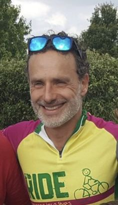 """""""More today on his Ride For Precious Lives charity event🚴"""" Daryl And Rick, Charity Event, Stuff And Thangs, Andrew Lincoln, Rick Grimes, Beautiful Men, Mirrored Sunglasses, Actors, Shit Happens"""
