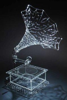 """mickelsenstudios.com  Robert Mickelsen, Network Victrola, 2010, lampworked borosilicate glass,  28"""" x 19"""" x 15"""""""