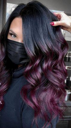 Fall Winter Hair Color, Fall Hair, Gorgeous Hair Color, Hair Color For Black Hair, Hair Color Balayage, Hair Highlights, Purple Balayage, Ombre Hair, Purple Burgundy Hair