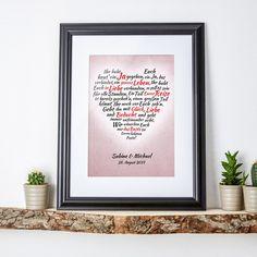 Unser Herz aus Worten - Zur Hochzeit - Ihre Namen im Bild ist ein schönes Geschenk zur Hochzeit - als individuelle Erinnerung an einen schönen Tag. Und als Wandbild, das vielleicht sogar die Liebe frisch hält.