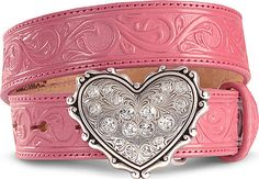 Heart Buckle Tooled Leather Belt- cute!