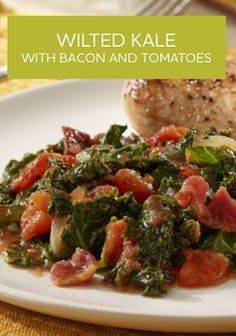 ... combines kale with tomatoes, onions, and bacon for a quick side dish