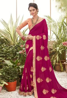 Buy Magenta Chanderi Silk Festival Wear Saree 201614 with blouse online at lowest price from vast collection of sarees at Indianclothstore.com. Chanderi Silk Saree, Lehenga Choli, Silk Sarees, Sari, Lace Silk, Pink Silk, Pink Lace, New Fashion Saree, Celebrity Gowns