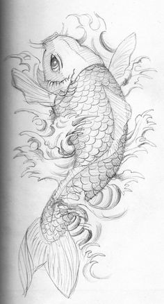 this is my first koi sketch. I wanna have a japanese tattoo on my arm and I have to practice a bit to make it look perfect. pencil HB on 15x10 cm sketchbook