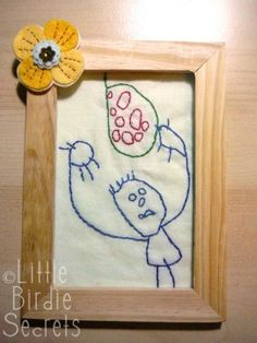 Embroider your kid's art.  I thought of offering this service once.  The OCD in me cannot fathom the thought of embroidering this in reverse though.  Why wouldn't you just put the pattern on the back?
