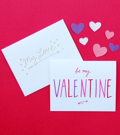 Happy Cactus Designs Be My Valentine Bold Letters Valentine's Day Card // © Happy Cactus Designs
