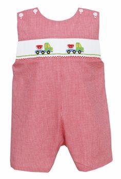 Petit Bebe by Anavini Infant / Toddler Boys Red Gingham Smocked Watermelon Trucks Shortall