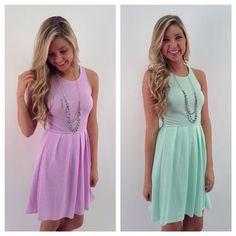 Pastel flare knit dresses