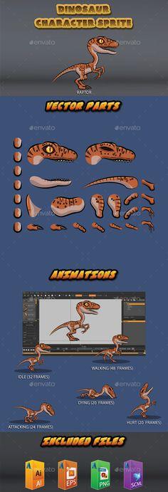 Dinosaur character sprite - Raptor - Sprites Game Assets