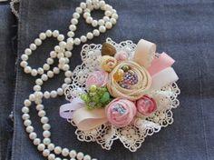 Flower textile fabric brooch handmade boho style by BROOCHandMORE