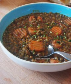 Lentilles à la marocain concentré de tomates carottes cumin coriande ciselée paprika curcuma