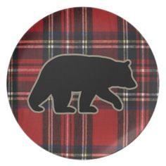 Black Bear Silhouette on Red Plaid Dinner Plate