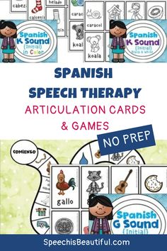 Articulation Cards and Games for K and G speech sounds in Spanish. Perfect for use with your bilingual speech therapy students. No prep needed! - Speech is Beautiful #articulationcards #spanishspeechtherapy #bilingualspeechtherapy #articulationgames