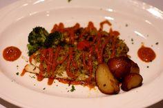 Pistachio Crust Tilapia-     Farm raised tilapia baked with pistachio, basil & panko crumb  crust, roasted tomato puree